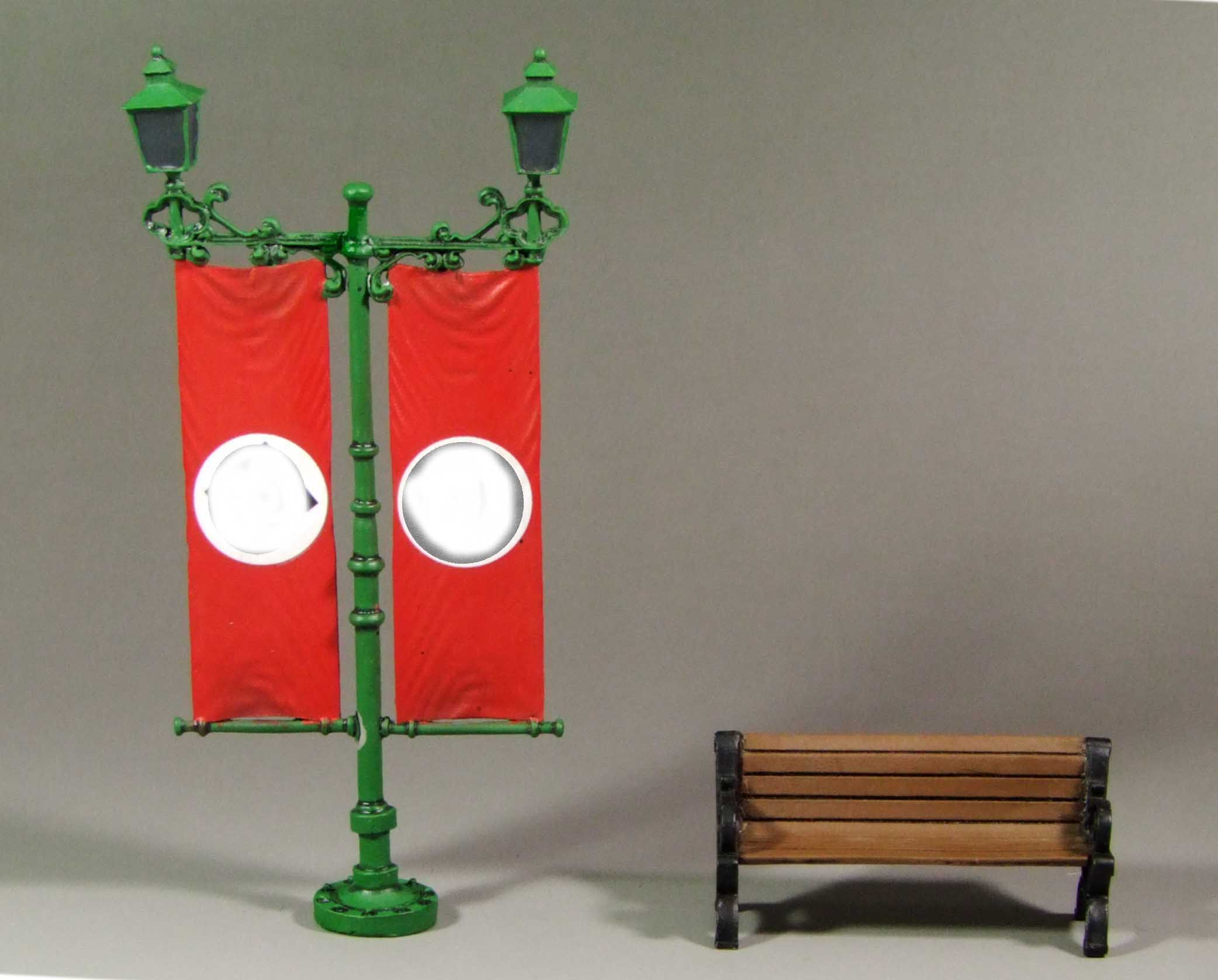 Street lampost and bench